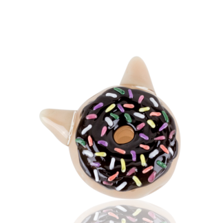 Choclate Glazed Kitty Donut Hand Spoon Pipe by Empire Glassworks