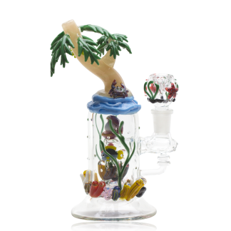Paradise Island Custom Mini Rig Water Bubbler by Empire Glassworks