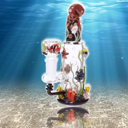 Octopus Reef - Custom Mini Rig Water Bubbler by Empire Glassworks